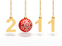 The new year 2011 with ball. A computer generated image representing the new year 2011 with a Christmas ball Stock Photography
