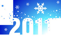 New Year  2011 blue background. Christmas background with the inscription 2011 with snowflakes Stock Images