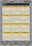New Year 2011 calendar. 2011 calendar with branches of roses Royalty Free Stock Photography
