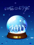 New Year 2011 card. With realistic snowglobe on blue background. Vector illustration Stock Image