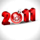 New year 2011 with christmas ball Royalty Free Stock Image
