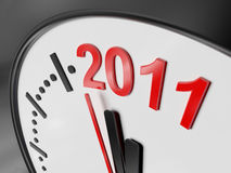 The new year 2011 in a clock. A computer generated image representing the new year 2011 in a clock Stock Photography