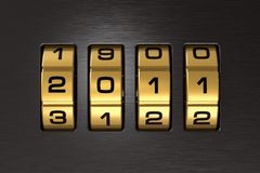 New Year 2011 code lock. Golden New Year 2011 code lock Stock Photo