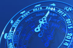 New year 2011 coming. Calendar as a clock with an arrow on the 2011. Hi-res digitally generated image vector illustration