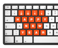 New year 2011 computer keyboard. New year 2011 message on a computer keyboard, 3d illustration isolated on white Stock Image