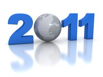 New Year 2011 concept. 3d rendered image Royalty Free Stock Photos