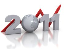 New Year 2011 concept. 3d rendered image Stock Images