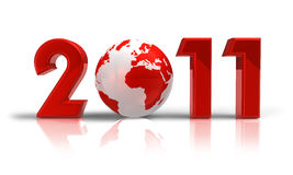 New Year 2011 concept. Isolated over white background Royalty Free Stock Photos