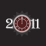 New year 2011 concept with clock. New year 2011 with clock instead number zero Royalty Free Stock Photos