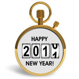 New Year 2011 congratulation. Golden stopwatch with New Year 2011 congratulation isolated over white background Royalty Free Stock Images