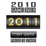 New Year 2011 counter isolated on white. Year counter & start game button isolated on white background vector illustration