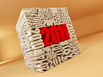 New year 2011. Cube consisting of the numbers Royalty Free Stock Photos