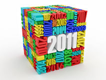 New year 2011. Cube consisting of the numbers. 3d Vector Illustration