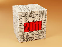 New year 2011. Cube consisting of the numbers. 3d Stock Photography