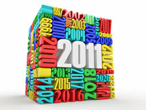 New year 2011. Cube consisting of the numbers Stock Images