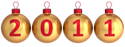 New Year 2011 date balls (Hi-Res). Golden Christmas balls with red 2011 date written on them in a horizontal row. Modern Xmas decoration bauble. This is a Royalty Free Stock Photo