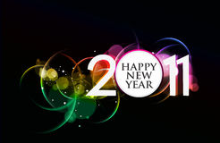 New year 2011 design. New year 2011 in colorful wave circle background design. Vector illustration Stock Illustration