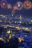 New year firework over Garmisch Royalty Free Stock Image