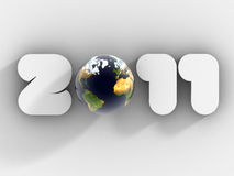 New Year 2011 with glass globe 3d Royalty Free Stock Photography