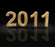 The new year 2011 in gold Stock Image