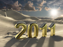 The new year 2011 in gold. Computer generated image of the new year in a snowy landscape Royalty Free Stock Image