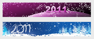 New Year 2011 horizontal banners. Horizontal banners for web. Winter and New Year Royalty Free Stock Image
