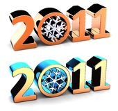 New Year 2011 numbers (Hi-Res). Shiny stylized 2011 word with snowflake inside 0 number. Two variants of colorized. Isolated on white. 3D render stock illustration