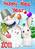 New Year 2011 Rabbit,Cat Royalty Free Stock Photography
