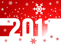 New Year  2011 red background. Christmas background with the inscription 2011 with snowflakes Royalty Free Stock Photos