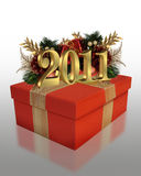 New Year 2011 red gift. Image and illustration composition of red gift box decorated with ornaments and gold numbers 2011 for New Years eve part invitation or Stock Image