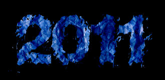 New year 2011 theme. (digits on black background Royalty Free Stock Photos