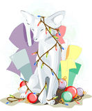 New Year 2011 white cat Stock Photography
