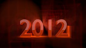 New Year 2012. Twenty eleven in a dark backround with with a deep orange but red glow stock illustration