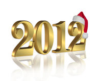 New Year 2012. 3D illustration gold numbers 2012 graphic background with Santa hat and reflection on white background Stock Illustration