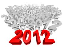 New Year 2012. 3D year numbers going from 2011 to 2012 Royalty Free Stock Images