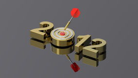 New Year 2012. Dart hitting target - New Year 2012 isolated on shiny grey background. Computer generated 3D photo rendering Stock Image