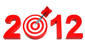 New Year 2012. Dart hitting target - New Year 2012 isolated on white. Computer generated 3D photo rendering Royalty Free Stock Photos