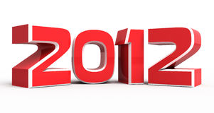 New Year 2012. 3d illustration of New Year 2012 background isolated on white Stock Photos