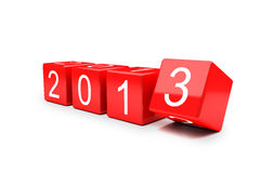 New year 2012-2013 changing. On red cube Royalty Free Stock Image