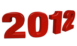 New Year 2012. Red numbers, 3d render with clipping path Stock Images