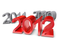 New Year 2012. Is highlighted in red. The passing in 2011 and 2010 - gray royalty free illustration