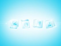 New year 2012. In ice cubes wallpaper Stock Images