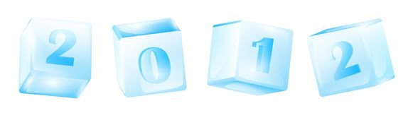 New year 2012. In ice cubes over white background Royalty Free Stock Image