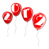 The new year 2012. Computer generated image of four baloons forming the number 2012 royalty free illustration