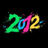 New year 2012. Color ink figures 2012 on black Stock Photos