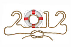 The new year 2012. Very high resolution 3d rendering of the new year 2012 in marine style royalty free illustration