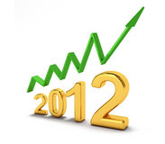 The new year 2012. Computer generated image of the number 2012 in gold and an arrow ascending it vector illustration