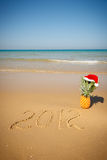 New year 2012. Anticipation of the new 2012, on the beach with a pineapple Royalty Free Stock Photography