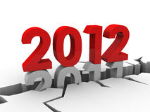 New year 2012. Pushing down the old 2011 into a hole in the ground (3d render stock illustration