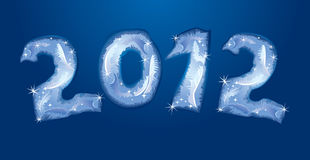 New Year 2012. Banner - numerals are made by hoarfrost Royalty Free Stock Photos